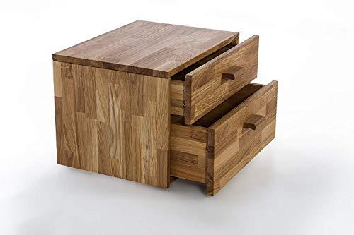 SAM Nachtkommode Cubi 1, brauner Wildeiche massiv, Konsole mit ausreichend Stauraum, Nachttisch im modernen Design