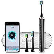 Proscenic 電動歯ブラシ アプリ制御 壁掛け充電 超音波歯ブラシ 2分タイミング IPX7防水 四つモード搭載 60日使用 替えブラシ2本 (ブラック)