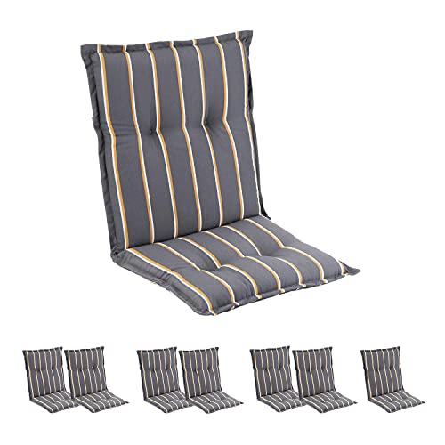 Homeoutfit24 Prato - Cojín Acolchado para sillas de jardín, Hecho en Europa, Respaldo bajo, Resistente a los Rayos UV, Poliéster, Relleno de Espuma, 103 x 52 x 8 cm, 8 Unidades, Verde/Amarillo