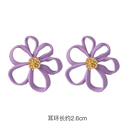 Moda púrpura Simple Hipster Ear Stud Estilo Coreano Net Red Flower Ear Stud para Mujeres Stud Pendientes Joyería