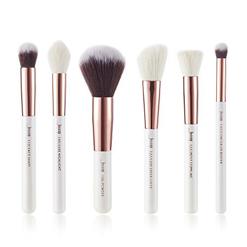 Lot de 6 pinceaux de maquillage Jessup, blanc perle/or rose - Pour fond de teint Solution professionnelle pour produits cosmétiques Pinceau pour fond de teint crème T224