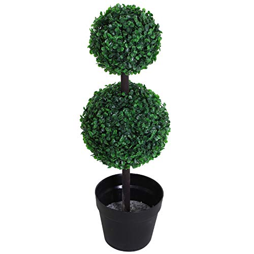 Outsunny Pianta Artificiale Bosso a Sfera (Ф23 X 67A cm), Due Sfere Verde Decorativo da Esterno e Interno con Vaso