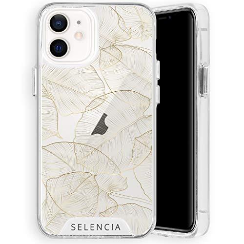 Selencia kompatibel mit iPhone 12 Mini Hülle – Zarya Fashion Back Cover Hülle – Hardcase Handyhülle in Gold Botanic [Fallschutz bis 1.2m, Qi Kompatibilität]