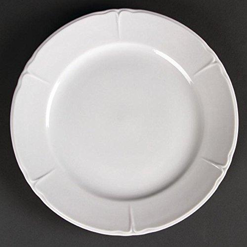 Olympia Rosa Lot de 12 assiettes rondes en porcelaine Blanc 250 mm