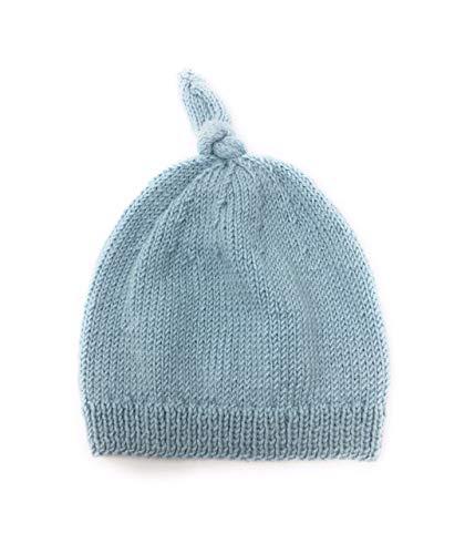 Bonnet Bébé Noué Cachemire Mérinos et Soie Tricoté à la Main Couleur et Taille au Choix (6-12 Mois, Bleu)