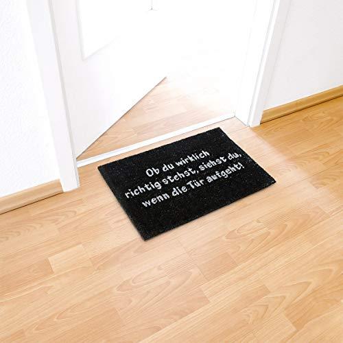 Relaxdays Fußmatte Kokos SPRUCH 40 x 60cm Kokosmatte mit rutschfester PVC Unterlage Fußabtreter aus Kokosfaser als Schmutzfangmatte und Sauberlaufmatte Fußabstreifer für Außen und Innen Matte, schwarz