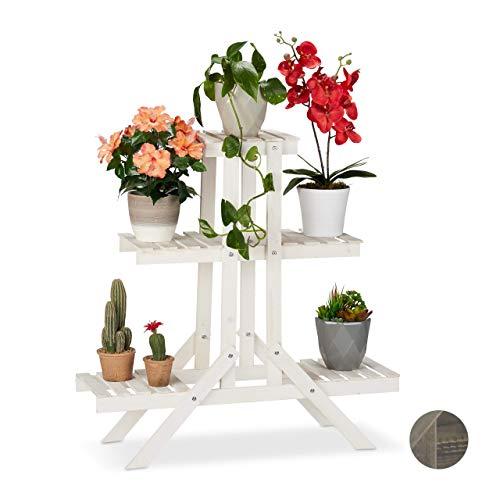 Relaxdays Blumentreppe aus Holz, 3 Stufen mit 9 Ablagen, Shabby Chic, innen, HBT: 83 x 83 x 28 cm, Blumenregal, weiß