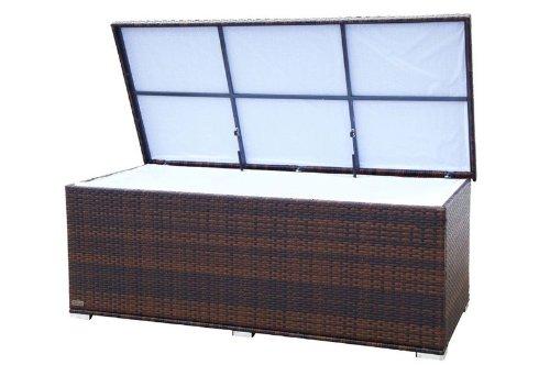 OUTFLEXX praktische Kissenbox aus widerstandsfähigem Polyrattan, braun marmoriert mit Gasdruckfedern und Innenbezug, 204 x 94 x 75 cm, Gartentruhe Universalbox Aufbewahrungsbox Kissentruhe