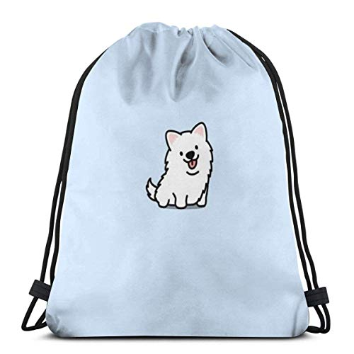 Lindo Kawaii blanco perro impresión cordón Bapa Sapa bolsa de cuerda Cincha impermeable nylon playa bolsa para gimnasio compras deporte yoga