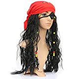 Black Curly Pirate Captain Hook Cosplay Costume Long Hair Wig Eye Patch Scarf Bulk Set for Kids Adult Halloween Masquerade Party Decorations