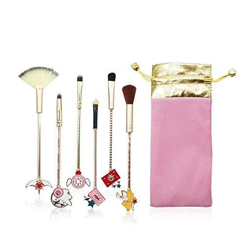 Ensemble De Pinceaux De Maquillage 6Pcs Pour Le Maquillage En Métal, 6Pcs En Or Rose
