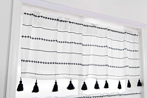 YoKii Boho Tassel Sheer Valances for Windows 18''L Semi-Transparent Chiffon Voile Black and White Striped Valance Curtains Topper for Kitchen Bedroom Living Room Decors (W52 x L18, Black)