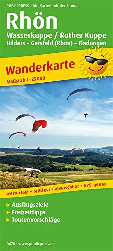 Rhön, Wasserkuppe / Rother Kuppe, Hilders – Gersfeld (Rhön) – Fladungen: Wanderkarte mit Ausflugszielen, Einkehr- & Freizeittipps, wetterfest, ... GPS-genau. 1:25000 (Wanderkarte / WK)