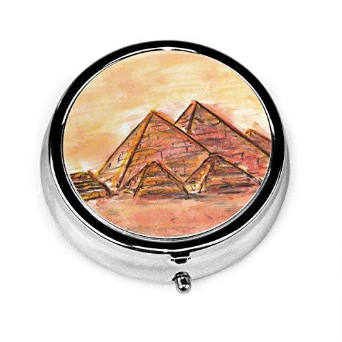 Pill Box Giza Pyramid Complex Round Silver Pill Box Pocket