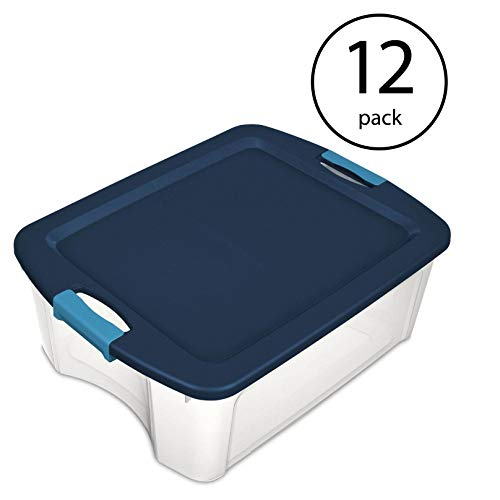 Sterilite 12 Gallon Latch and Carry Storage Tote Box Container, Clear (12 Pack)