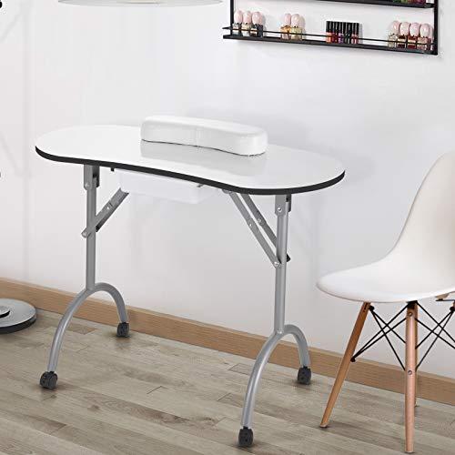 Maniküre Tisch mit Schublade, Tragbarer Mobil Nageltisch Manikürtisch mit Schwamm Handgelenkkissen, Klappbar...