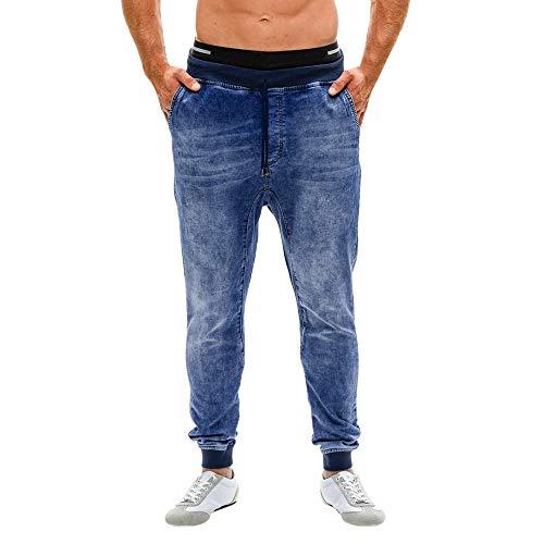 Zarupeng heren stretch denim vrijetijdsbroek Distressed Slim Fit jeans outdoorbroek joggingbroek cargo broek met trekkoord