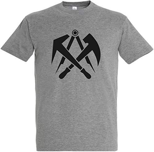 Herren T-Shirt Dachdecker Zunftwappen S bis 5XL (M, Grau)