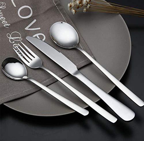 Demarkt Juego de cubiertos de acero inoxidable, 1 cuchillo, 1 tenedor, 2 cucharas para casa y restaurante.