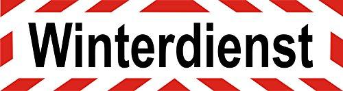INDIGOS UG - Magnetschild Winterdienst - mit Streifen - 45 x 12 cm - Magnetfolie für Auto/LKW/Truck/Baustelle/Firma