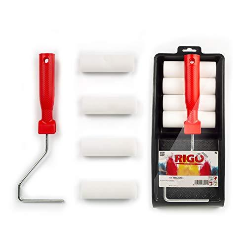 RIGO Kit Rodillos Pintura Pequeños de Espuma de 11cm con 4 Recambios Para Esmalte con Bandeja - Perfecto para Superficies Metálicas o Madera, Puertas, etc