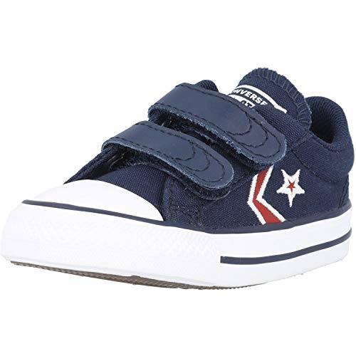 Converse Star Player 2V Ox Embroidered Blu/Rosso (Obsidian/University Red) Tessuto 22 EU