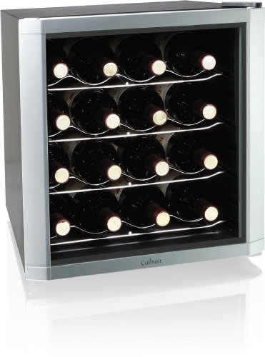 Culinair AW162S Thermoelectric 16-Bottle Wine Cooler, Silver/Black