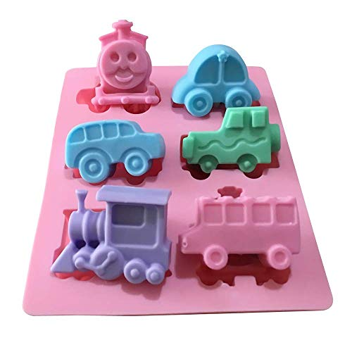 Vehicle Ice Cube Mold - Train Bus Cars Silicone Mold Tray for Muffin, Cake, Jello, Candy, Chocolate, Mini Soap, Crayon, Plaster, Polymer Clay