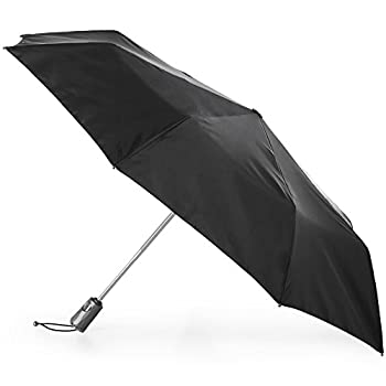 totes Titan Automatic Open Close Windproof & Water-Resistant Foldable Umbrella Black
