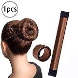 Xiton 1 PC Magico Donuts Para Hacer MoñOs Pelo Accesorios Pelo Banda Para El Cabello Accesorio Diy Hair Styling Tool Para Mujeres NiñAs(MarróN)