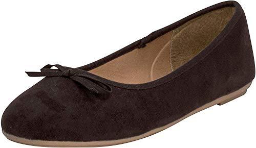 Fitters Footwear That Fits Damen Ballerina Helen Microfibre modische Basic Ballerinas mit Schleife Übergröße (46 EU, schwarz)