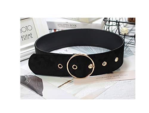 Womens Velvet Belt Solid Color Pin Buckle Belts Simple Dress Cinch Belt Cinch Belts for Dresses (Black 2)