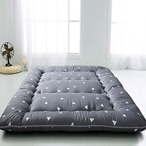 Grey Triangle Japanese Floor Futon Mattress, Tatami Floor Mat Portable Camping Mattress Kids Sleeping Pad Foldable Roll Up Floor Lounger Pillow Bed Full Size with Mattress Protector Cover