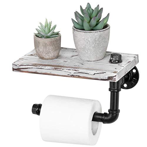 Tubo de Hierro de Estilo rústico y Estante de baño montado en la Pared de diseño de Madera marrón/Soporte de Rollo de Papel higiénico