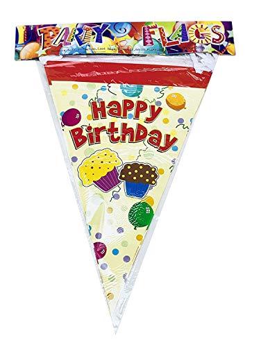 AEX feeststijl kleur dubbelzijdig papier partij Bunting 10 vlaggen double cupcake yellow