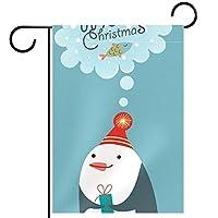 ホームガーデンフラッグ両面春夏庭屋外装飾 12x18INCH,漫画ペンギン
