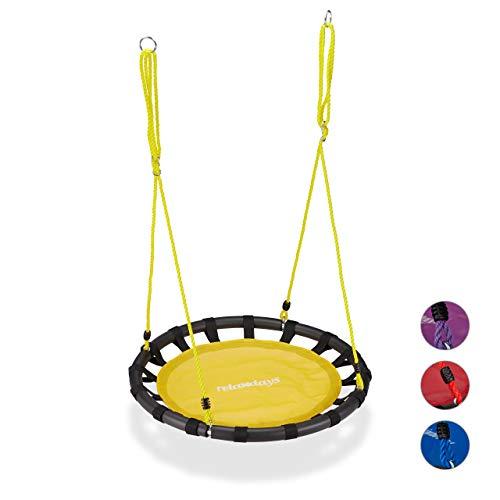 Relaxdays Altalena da Giardino a Nido, per Bambini e Adulti, Regolabile, Ø 80 cm, Portata Max. 100 kg, Giallo