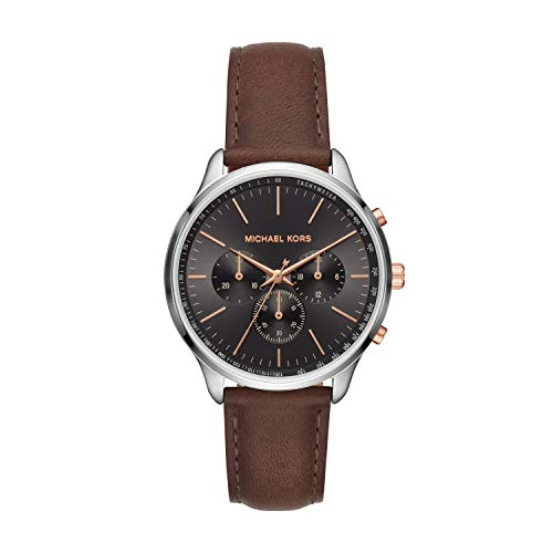 Michael Kors Men's Sutter Stainless Steel Quartz Watch with Leather Strap, Brown, 20 (Model: MK8722)