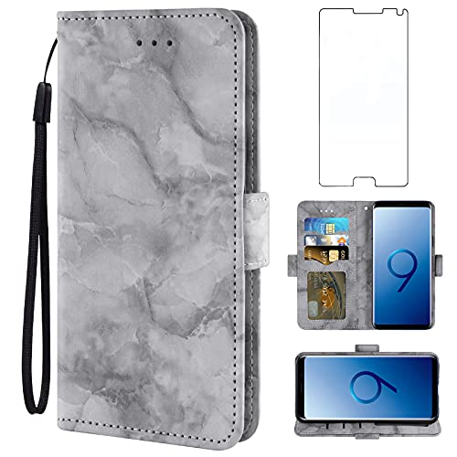 Asuwish Compatible with Samsung Galaxy Note 4 Case and Tempered Glass Screen Protector Cover Accessories Card Holder Slot Kickstand Marble Wallet Phone Cases for Glaxay Note4 N910A Not Notes Black