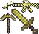 Juguetes para NiñOs Pixel Foam Diamond Sword/Pickaxe/Pistol, Spectacular Battle Sword, Soft Play Weapon Toys Accesorios para Disfraces, Regalo Divertido para NiñOs Y NiñAs (Azul/Amarillo}