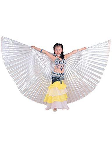 besbomig Niños niñas Alas de Danza del Vientre con Telescópico Palos/Barras - 360 Grados Alas de Danza del Egipto Trajes de la Etapa Props