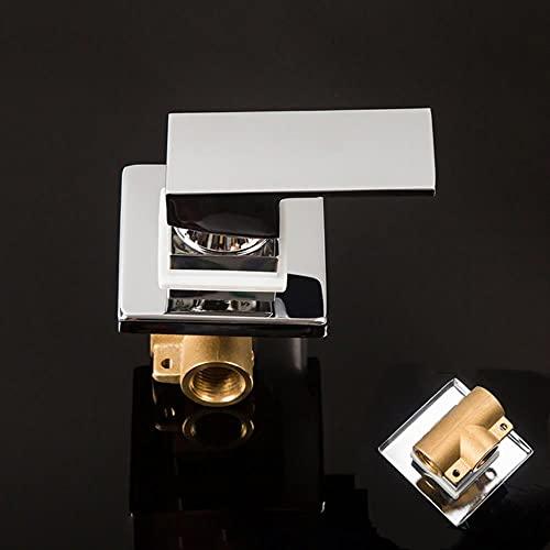 AFUDER Grifo de ducha de latón macizo válvula mezcladora de agua fría y caliente de 1-3 vías mezclador de ducha para baño ducha montado en la pared oculto