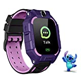 Kids Smart Watch Phone LBS Tracker Voice Chat SOS Two-Way Call Watch Touch Screen Camera Smart Watch for 3-12 Years Old Boys Girls Fashion Christmas Birthday Gift(Purple)