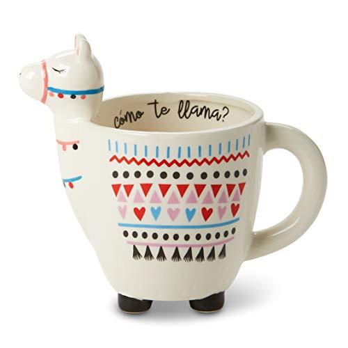 White Ceramic Coffee or Tea Mugs: Animal Shaped Coffee Mugs with Hand Printed Designs and Printed Saying - 11 - 18.6 Fluid Ounce Large, Cute Handmade Cup (Llama)