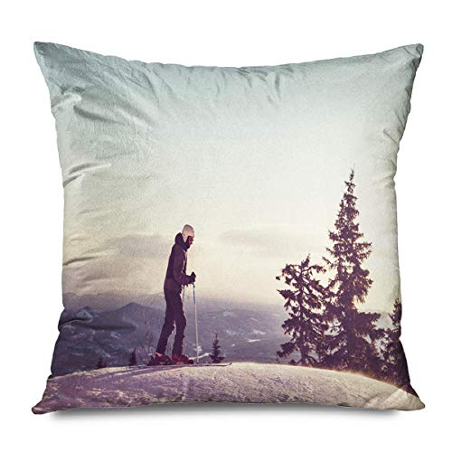 iksrgfvb Throw Pillow Cover Square 45x45CM Active Male Skier Parks Play Action Healthy People Activity Adventure Alpine Athl