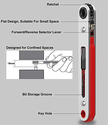 Broppe Mini Ratchet Wrench Screwdriver 1/4 Inch Hex Screwdriver Bit Drive Ratchet Wrench Offset Screwdriver Magnetic with Flat and Phillips Bit