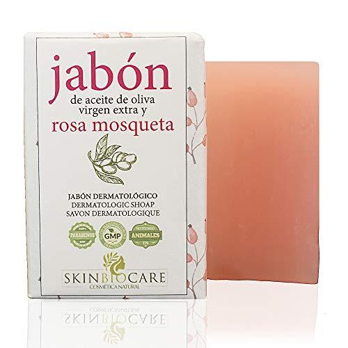 Jabón facial Rosa Mosqueta y AOVE -Regenerador de marcas de Acné y Granos -Elaboración Natural, Artesanal y Ecológica- 100 gramos SkinBioCare .
