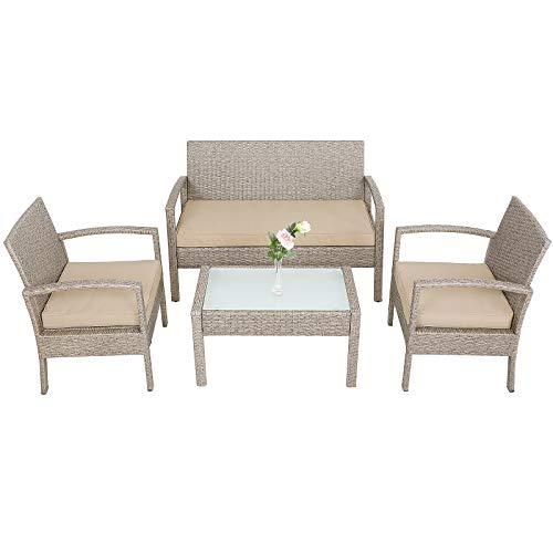 CASARIA Set Lounge Polirattan Cuscini 5cm 2 Poltroncine da Giardino Tavolo da Esterno Salottino Beige