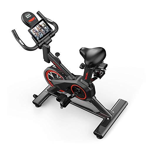 Stazionario per bici da ciclismo per interni - Cyclette con resistenza regolabile, allenamento per la salute della palestra domestica con monitor digitale a volano pesante e supporto per tablet