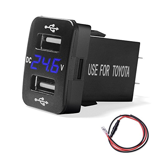 MICTUNING 2.1A Dual USB Charger Power Socket with Digital Voltmeter Blue LED Light for Smartphone iPhone iPad PDA Laptop GPS Replacement for Toyota